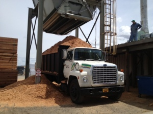 test: picking up sawdust in a truck that small does not work. solution: get a bigger truck.